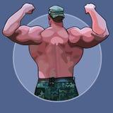 Uomo enorme del fumetto che sta dalla parte posteriore in una posizione del culturista illustrazione vettoriale