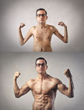 Uomo esile e muscolare fotografie stock libere da diritti