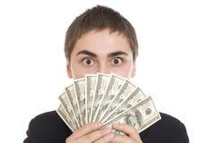 Uomo espressivo con le fatture del dollaro immagini stock