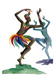 Uomo etnico dell'Africano di ballo Fotografia Stock Libera da Diritti