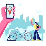 Uomo facendo uso dell'applicazione di Smartphone di servizio di affitto della bici che cerca nella grande città Telefono della te illustrazione di stock