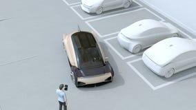 Uomo facendo uso dello smartphone a parcheggio telecomandato dell'automobile Concetto di sistema di parcheggio di auto stock footage