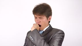 Uomo faticoso e sonnolento Gesto stock footage