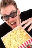 Uomo felice in 3D-glasses Fotografia Stock Libera da Diritti