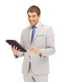 Uomo felice con il computer del pc della compressa Fotografia Stock Libera da Diritti