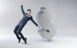 Uomo felice con il segno del dollaro Immagini Stock