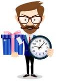 Uomo felice con l'orologio ed ed il regalo sveglio su fondo bianco royalty illustrazione gratis
