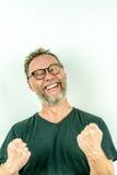 Uomo felice con la barba, sorriso di conquista Fotografia Stock