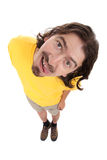 Uomo felice con un fronte divertente Immagine Stock