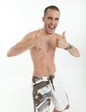 Uomo felice in costume da bagno Immagini Stock Libere da Diritti