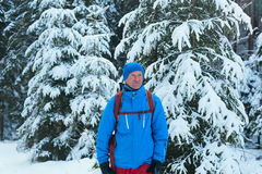 Uomo felice della viandante che sta nella foresta di inverno Fotografie Stock Libere da Diritti