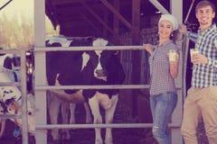 Uomo felice e donna che stanno con nel capannone e la mostra della mucca Fotografia Stock