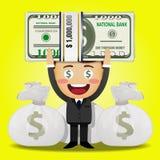 Uomo felice e grande pila di soldi Immagine Stock