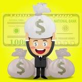 Uomo felice e grandi borse dei soldi Immagine Stock