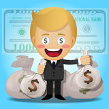 Uomo felice e grandi borse dei soldi Fotografie Stock