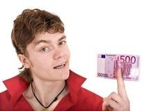 Uomo felice nel colore rosso con soldi. Immagini Stock Libere da Diritti