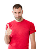 Uomo felice nel gesto di vittoria Fotografia Stock