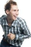 Uomo felice sopra bianco Immagini Stock