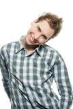 Uomo felice sopra bianco Fotografia Stock Libera da Diritti