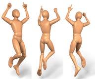 Uomo, figura che salta su nell'aria, cappero, dido Fotografia Stock Libera da Diritti