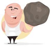 Uomo forte che tiene grande Boulder Immagine Stock