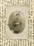Uomo foto-militare antico di originale 1918 Fotografia Stock Libera da Diritti
