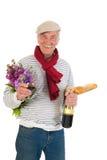 Uomo francese con pane e vino Fotografia Stock Libera da Diritti