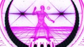 uomo fucsia di 3D Wireframe nel fondo V2 di moto del ciclo del Cyberspace VJ illustrazione vettoriale