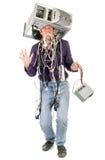 Uomo furioso con il calcolatore Fotografia Stock