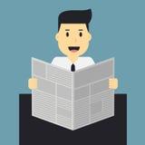 Uomo, giornale della lettura dell'uomo d'affari Fotografia Stock