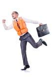 Uomo in giubbotto di salvataggio Immagine Stock