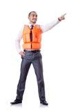 Uomo in giubbotto di salvataggio Fotografie Stock