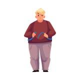 Uomo grasso che si misura con nastro adesivo e che ritiene triste royalty illustrazione gratis