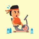 Uomo grasso del fumetto che guida le bici di esercizio sdraiate Fotografia Stock