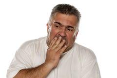 Uomo grasso disgustato Immagini Stock