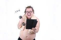 Uomo grasso su una dieta immagini stock libere da diritti