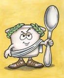 Uomo greco del yogurt con il cucchiaio Immagini Stock