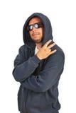 Uomo hip-hop che gesturing con le dita immagini stock