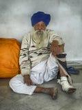 Uomo indiano con il turbante blu Fotografie Stock Libere da Diritti