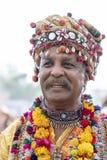 Uomo indiano vestito in vestiti nazionali durante il cammello Mela, Ragiastan, India, fine di Pushkar sul ritratto fotografie stock