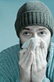 Uomo infettato con il virus di influenza Immagine Stock