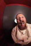 Uomo insano in una camicia di forza Fotografie Stock Libere da Diritti