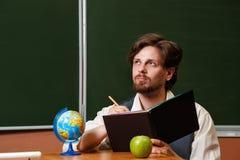 Uomo Insegnante di geografia Immagine Stock