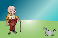 Uomo invecchiato anziano con il bastone ed il cane Fotografia Stock