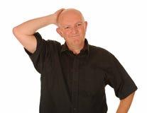 Uomo invecchiato centrale confuso Fotografia Stock Libera da Diritti