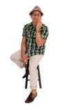 Uomo ispano che ama il suo sigaro Fotografia Stock