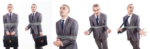 Uomo legato isolato su bianco immagini stock