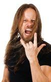 Uomo lungo arrabbiato dei capelli che grida Fotografia Stock Libera da Diritti