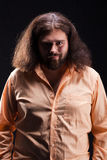 Uomo lungo dei capelli Fotografia Stock Libera da Diritti