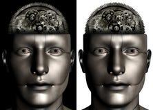 Uomo a macchina Brain Illustration di industriale Immagini Stock Libere da Diritti